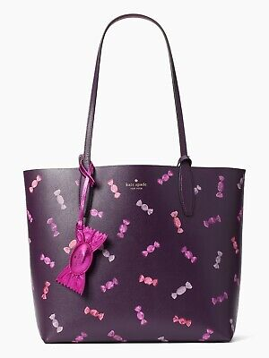 $ CDN181.41 • Buy NWT Kate Spade Candy Large Reversible Purple Leather Tote + Pouch WKR00196 FS