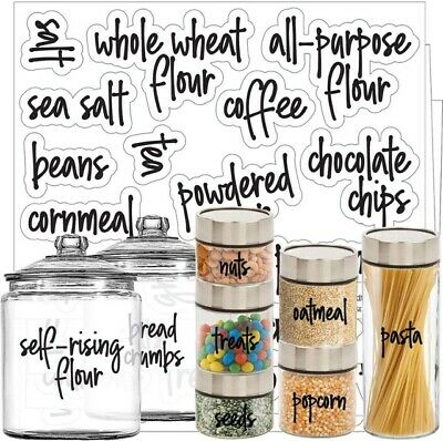 60 Preprinted Pantry Labels Kitchen Storage Containers Jars Decal Stickers  • 14.99£
