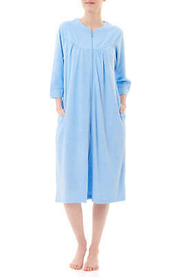 Ladies Givoni Terry Dressing Gown 3/4 Sleeve Short Sky Blue (87) • 44.32£