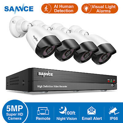 £125.99 • Buy SANNCE 5MP CCTV System AI Human Camera IP66 Night Vision 8CH DVR Security System