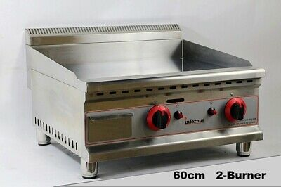 2 Burner Commercial 600mm  LPG Ready, Or Natural Gas Griddle, Chrome Plate • 439£