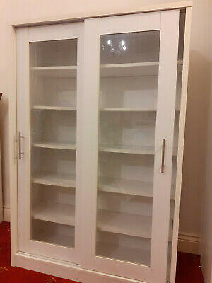Metro Display Cabinet With Glass Sliding Doors - White • 84£