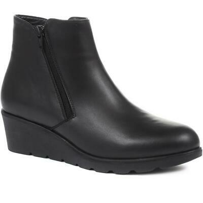 Pavers Women's Leather Wedge Ankle Boots Zip Fastening Lightweight Slip-On • 54.99£