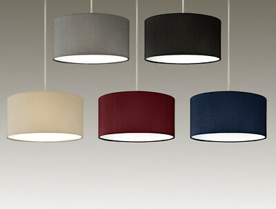 £24.99 • Buy Modern Drum Pendant Ceiling Light Shades With Frosted Diffusers In 5 Colours
