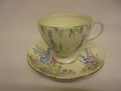 Foley E Brain Hollyhocks Cup & Saucer Yellow Background Fine Bone China Vintage • 9.99£