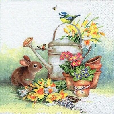 4xSingle Paper Table Napkin/Decoupage/Easter/Rabbit/Bunny/Watering Can/Flowers  • 1.25£