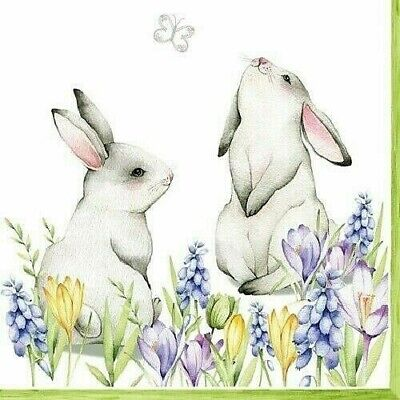 4 X Single Paper Table Napkin/3-Ply/Decoupage/Easter/Bunnies In Spring • 1.25£