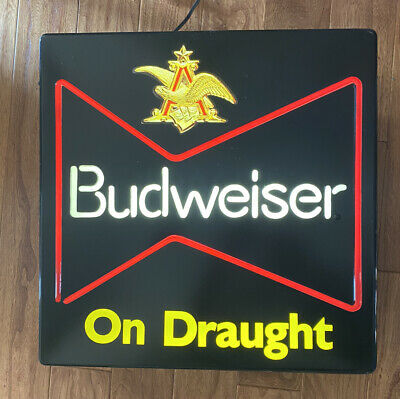 $ CDN65.32 • Buy Budweiser Beer SIGN Lighted ON DRAUGHT Neo Plastic 18