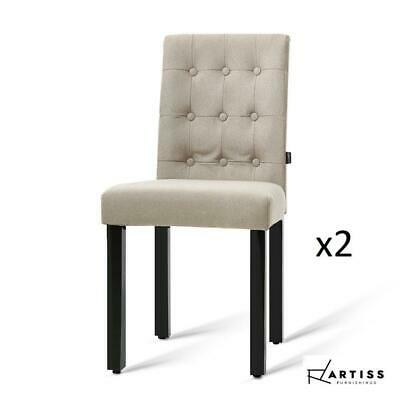 AU85 • Buy Artiss X2 DONA Dining Chair Fabric Foam Padded High Back Wooden Kitchen Beige