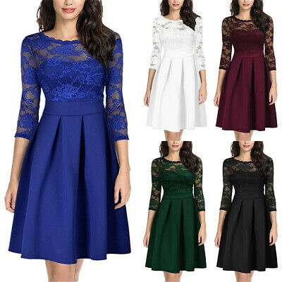 AU24.89 • Buy Women 3/4 Sleeve Cocktail Wedding Prom Party Dress Bridesmaid Evening Lace Dress