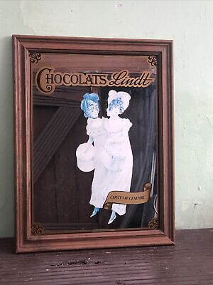 "£49.99 • Buy Original Chocolate Lindt Not Fry's Or Cadburys  Advertising Mirror 1950s 18""x14"""