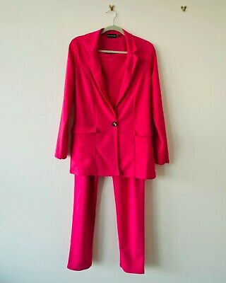 PLT Womens Bold Hot Pink Power Suit Blazer (size 10) And Trousers (size 8) • 15£