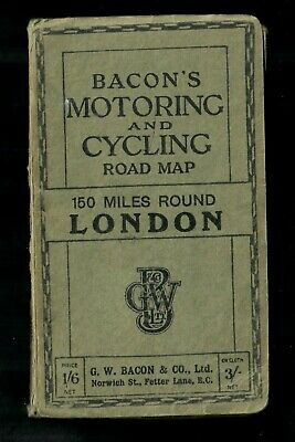 £7 • Buy Bacon's Motoring And Cycling Road Map 150 Miles Round London Vintage