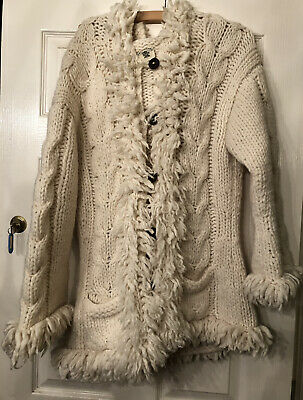 PACHAMAMA Size 12/14 Cream Wool Hooded Cardigan RRP £79.99, Pockets, Buttons • 30£