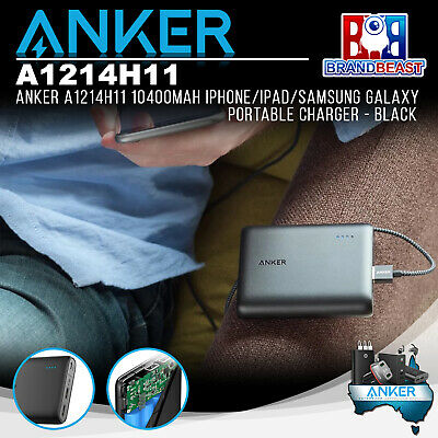 AU89.95 • Buy Anker A1214H11 10400mAh IPhone/iPad/Samsung Galaxy Portable Charger - Black