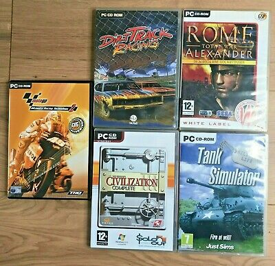 PC CD ROM GAME BUNDLE X5 Games Mixed Racing - Tank Simulator - War • 9.99£