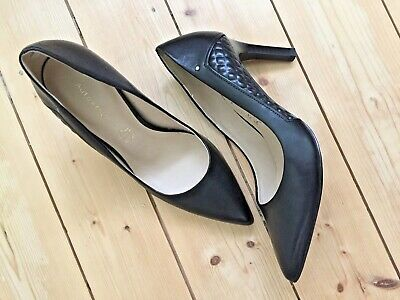M&S Autograph Black Leather Court Shoe Sz 4.5 Diamond Quilted Insolia Worn Once • 12.50£