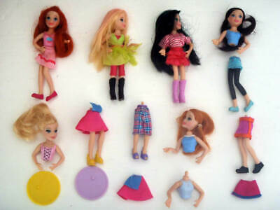 Polly Pocket Pop 'n Swap Dolls, Clothes, Stands - Lot 2 • 7.99£