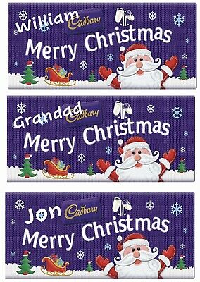 Personalised Christmas Large Chocolate Bar Wrapper, Any Names X 5 Deal! Gift • 7.50£