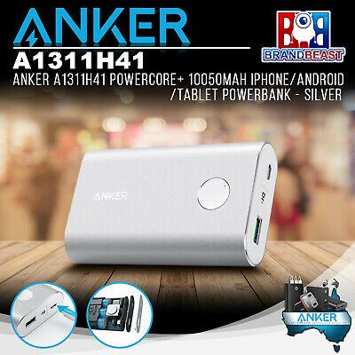 AU69.99 • Buy Anker A1311H41 PowerCore+ 10050mAh IPhone/Android/Tablet Powerbank - Silver