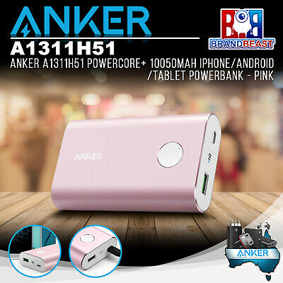AU69.99 • Buy Anker A1311H51 PowerCore+ 10050mAh IPhone/Android/Tablet Powerbank - Pink