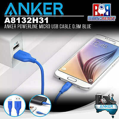 AU14.99 • Buy Anker A8132H31 PowerLine 0.9m Android Smartphones Micro USB Charging Cable Blue