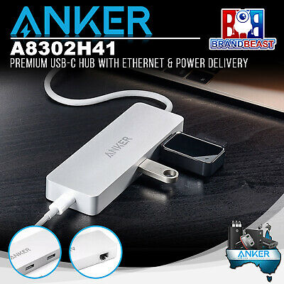 AU109.93 • Buy Anker A8302H41 Premium USB-C Hub With Ethernet & Power Delivery - Silver