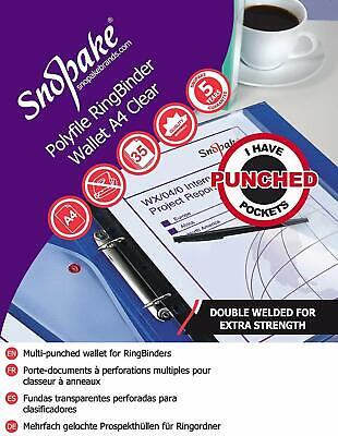 £5.01 • Buy Snopake 12566 A4 Polyfile Classic Clear Ring Binder Popper Wallet File