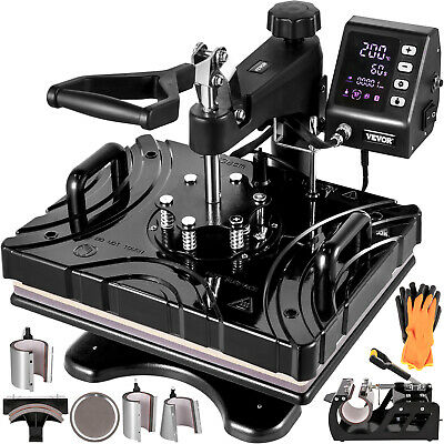 AU364.98 • Buy VEVOR Heat Press 8 In 1 Heat Press 12X15 Black Sublimation Machine For Cap Mug