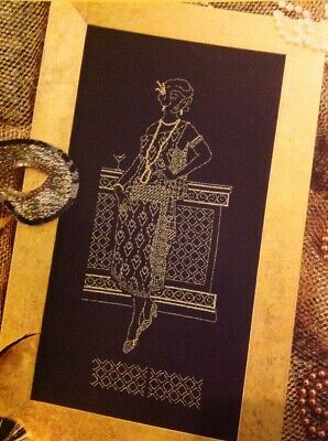 (F) Blackwork Beauty Gold Twenties Lady Cross Stitch Chart • 1.99£
