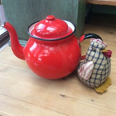 *SmaLL ViNtAgE ToMaTo ReD EnAmeL TeApOt~iDeaL FoR CaMpiNg~FeStiVaLs~PiCniCs* • 8.99£