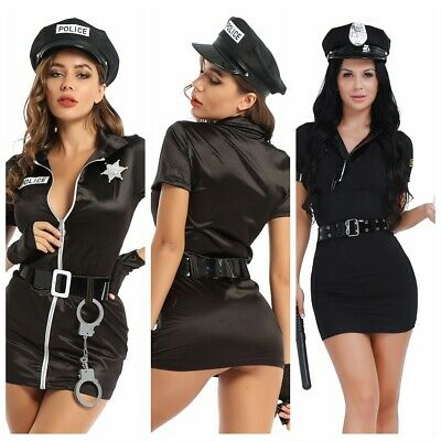 Sexy Women Police Cop Fancy Costume Officer Outfit Cosplay Dress Uniform CLUB • 22.89£