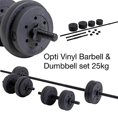 Opti  25kg Vinyl Barbell & Dumbbell Set: Not York, Pro-iron - Collect Today ✅ • 79.99£