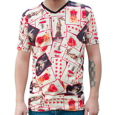 MENS PLAYING CARDS T SHIRT ALTERNATIVE GOTHIC EMO PUNK SIZE Small • 2.99£