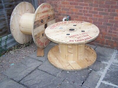 Large Wooden Cable Drum Reel Retro Garden Coffee Table Industrial Worcester Wood • 40£