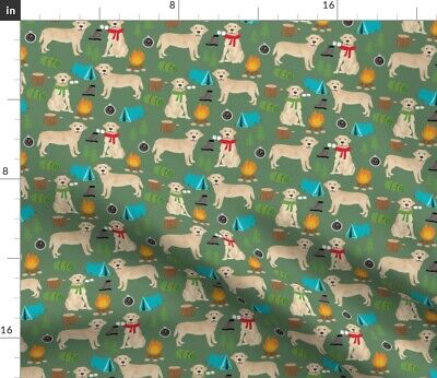 Dogs Camping Labrador Labrador Retriever Yellow Spoonflower Fabric By The Yard • 14.70£