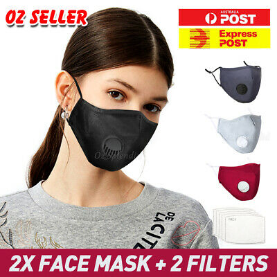 AU9.80 • Buy 2 X Washable Face Mask Mouth Reusable Anti Pollution Cotton Masks PM 2.5 Filter
