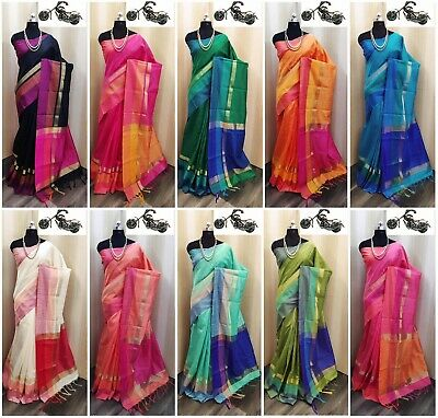 Sari Saree Designer Indian Bollywood Khadi Cotton Silk Wedding Party Wear Blouse • 19.78£