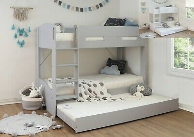 Levi Bunk Bed Frame With Trundle Bed Storage Childrens Wood Effect Grey Or White • 519.99£