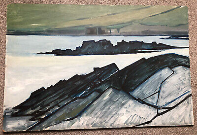 Oil On Board, Coastal Sea Modern Art Painting. 92x61cm • 24£