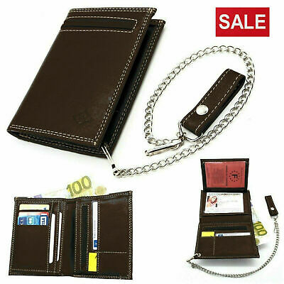 Men's Biker Leather Wallet With Coin Pocket And Safety Metal Chain Purse BROWN • 12.99£