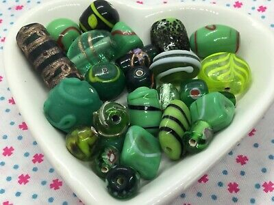 Mixed Bead Bundle 75g  Lampwork And Frosted Czech Glass Beads, Green • 2.95£