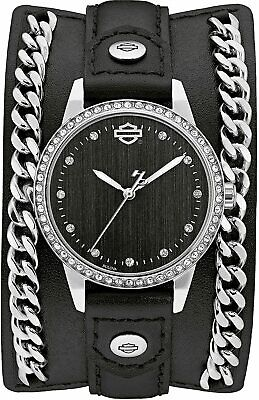 Harley-Davidson Crystal Leather Cuff With Steel Chain Women's Watch 76L184 • 89.88£
