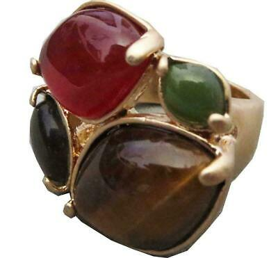 $ CDN0.13 • Buy Lia Sophia Spiceberry Ring Tiger's Eye Red Green In Gold RV$74 Size 5 - 11