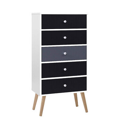 AU91.49 • Buy GREY WHITE Chest Of 5 Drawers Wooden Tallboy Dresser Table Storage Cabinet