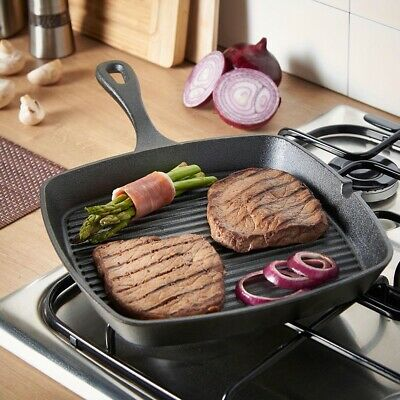 Large Cast Iron Griddle Pan Pre-seasoned Non Stick Square Skillet Frying Pan • 21.99£