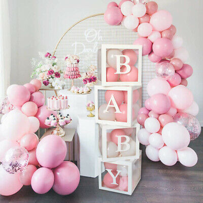 AU25.99 • Buy 4Pcs/Set Balloon LOVE BABY Box Cube Clear Boxes Birthday Baby Shower Party Gift