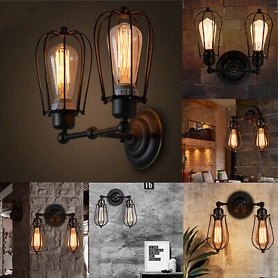 £11.99 • Buy Vintage Industrial Lights Lamps Covers Wall Mounted Rustic Fixture Black Cage