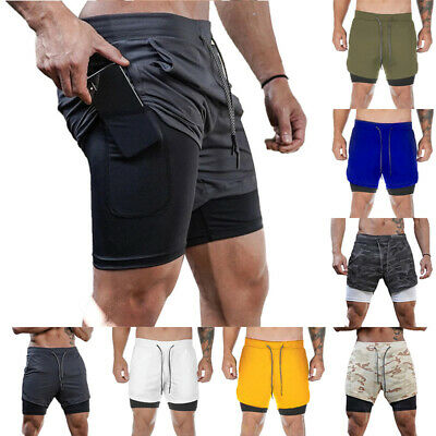Men's 2 In 1 Running Shorts With Phone Pockets Sports Pants Jogging Quick Dry UK • 11.49£