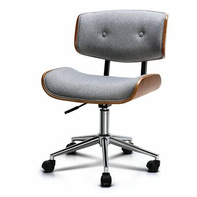 AU128.61 • Buy GREY Curved Wooden Frame Fabric Modern Office Computer Swivel Desk Chair
